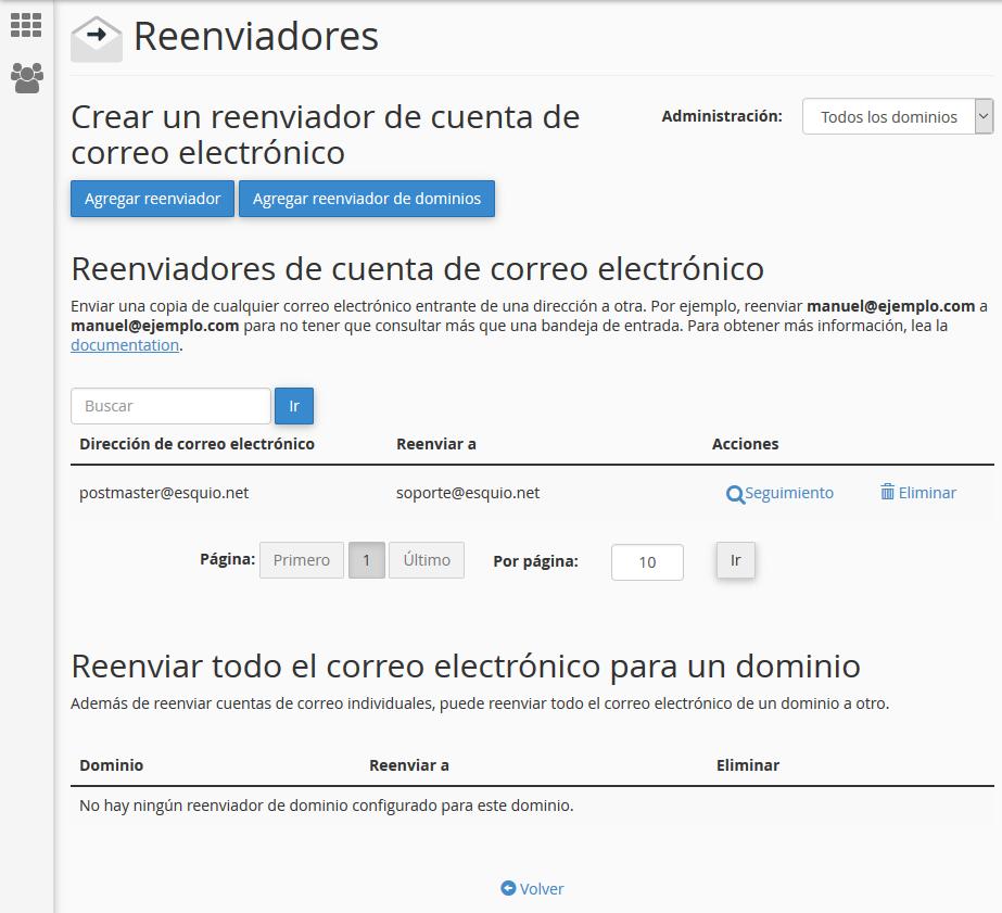 Reenviadores de correo en cPanel