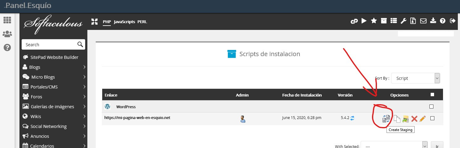 Staging Wordpress